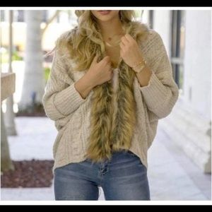 FAUX Fur Tan Cardigan (OSFM)